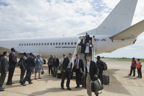 Security Council visits South Sudan. 12 August 2014 Arrival of SC Delegation at Juba International Airport.