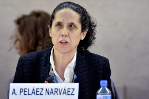 Ana Pelaez Narvaez, Member of the Committe on the Rights of Persons with Disabilités at a Annual interactive debate on the rights of persons with disabilités during the 25th Session of the Human Rights Council. 19 March 2014. UN Photo / Jean-Marc Ferré