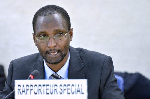 Mutuma Ruteere, Special Rapporteur on Contemporary Forms of Racism, Racial Discrmination, Xenophobia and Related Intolerence at a 26th session of the Human Rights Council. 24 June 2014. UN Photo / Jean-Marc Ferré
